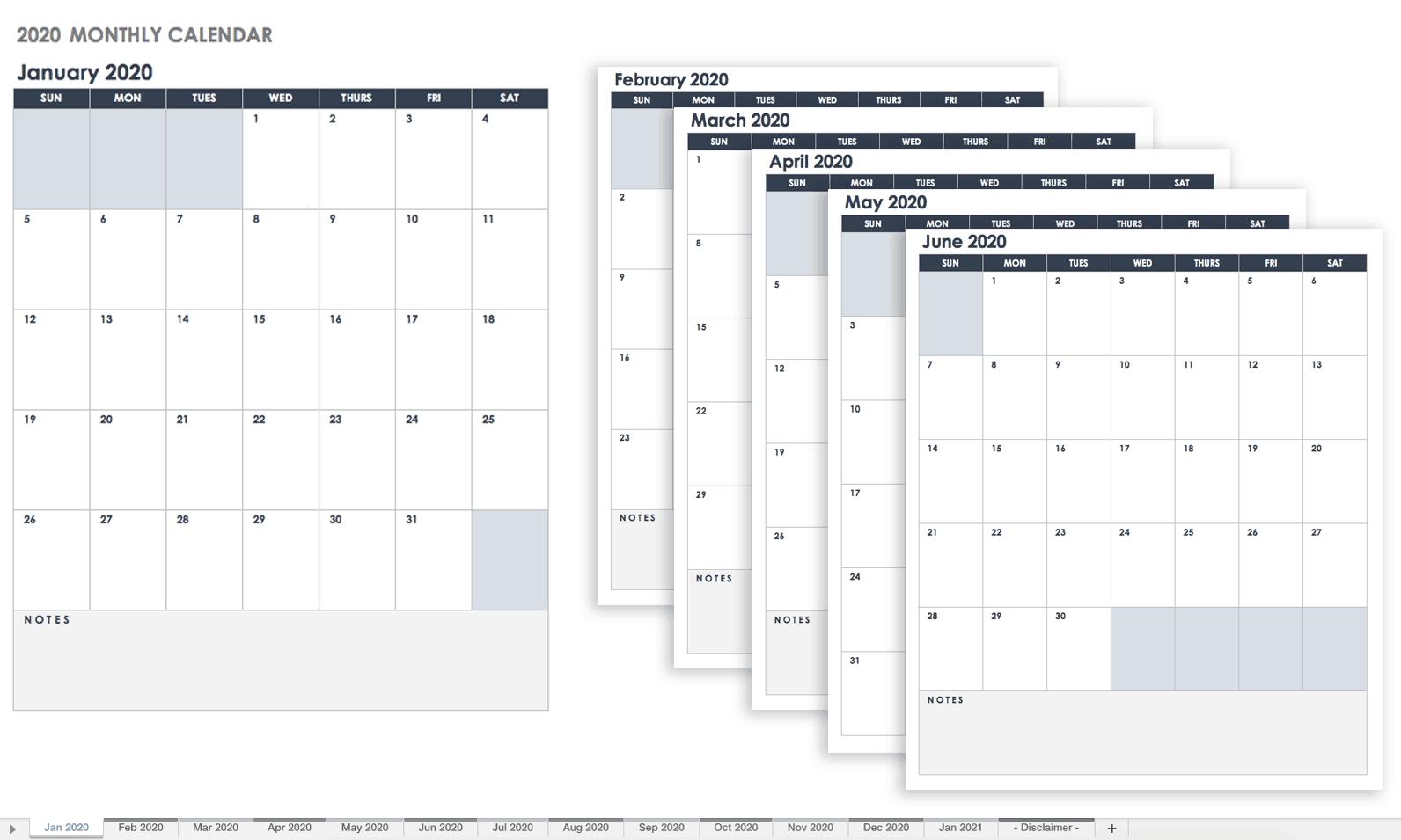 Free Google Calendar Templates | Smartsheet Remarkable 2020 Calendar Google Sheets