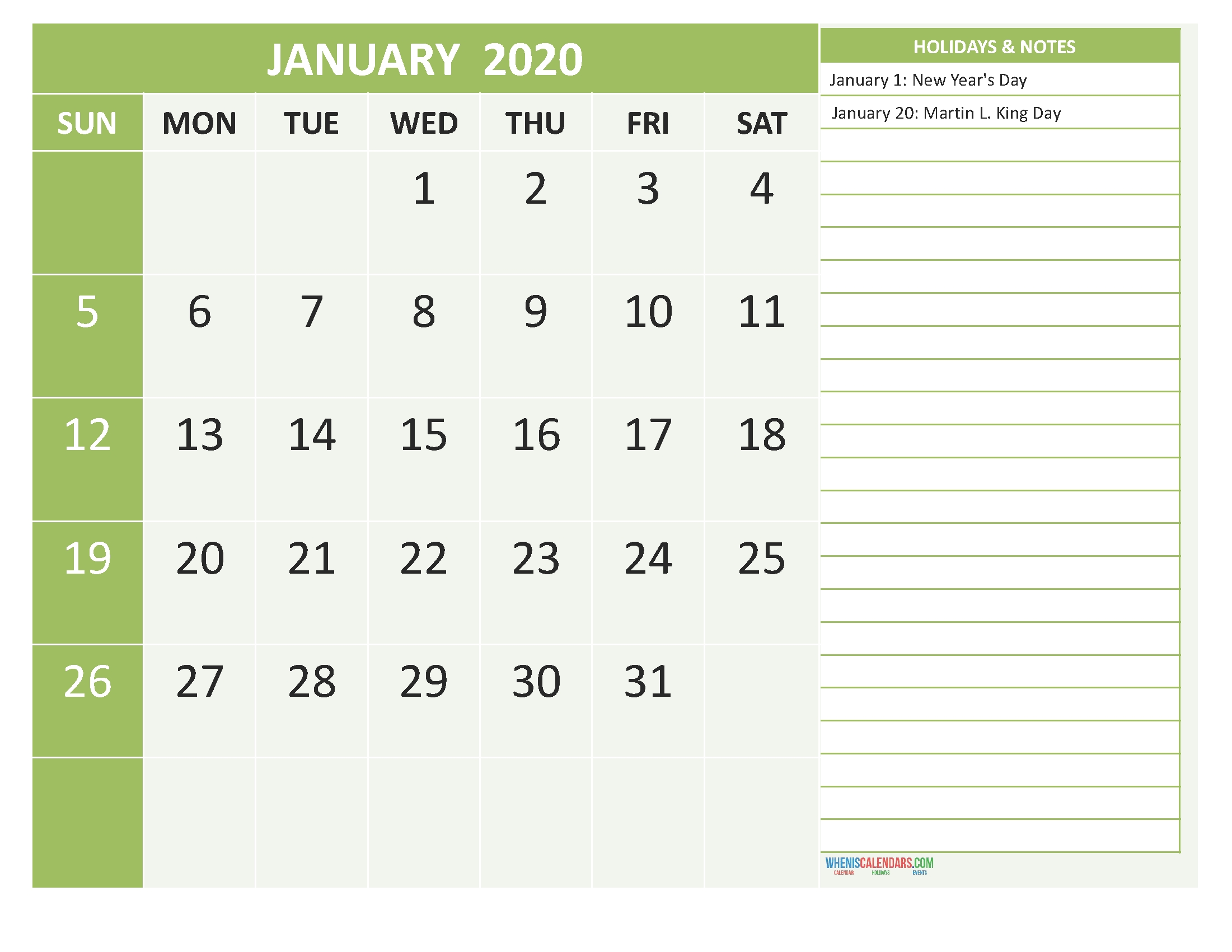 Free January 2020 Monthly Calendar Template Word | Free Perky 2020 Monthly Calendar Template Word