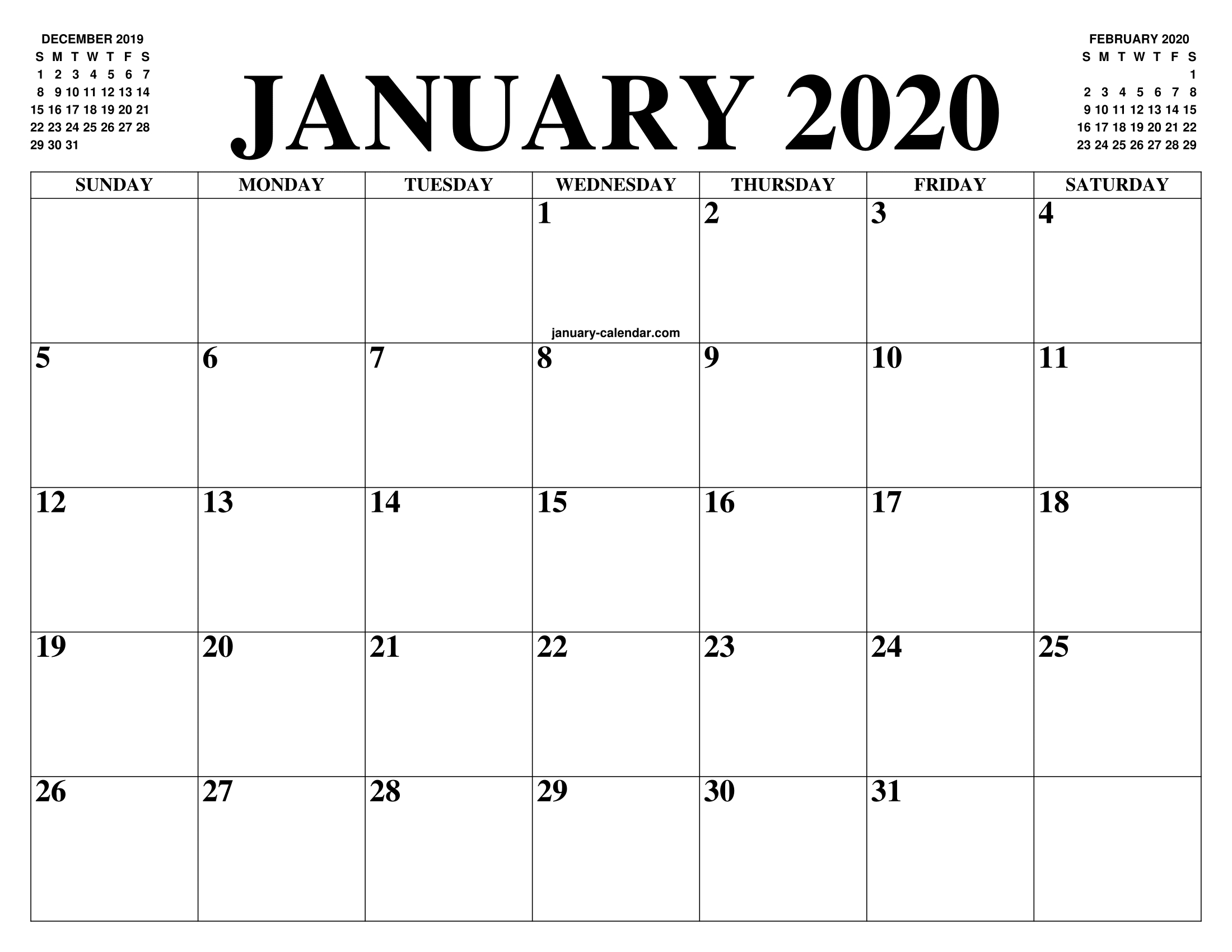 Free January Calendar 2020 Printable Template Blank In Pdf Exceptional Free Very Large Squares Blank Printable Calendar 2020 Monthly