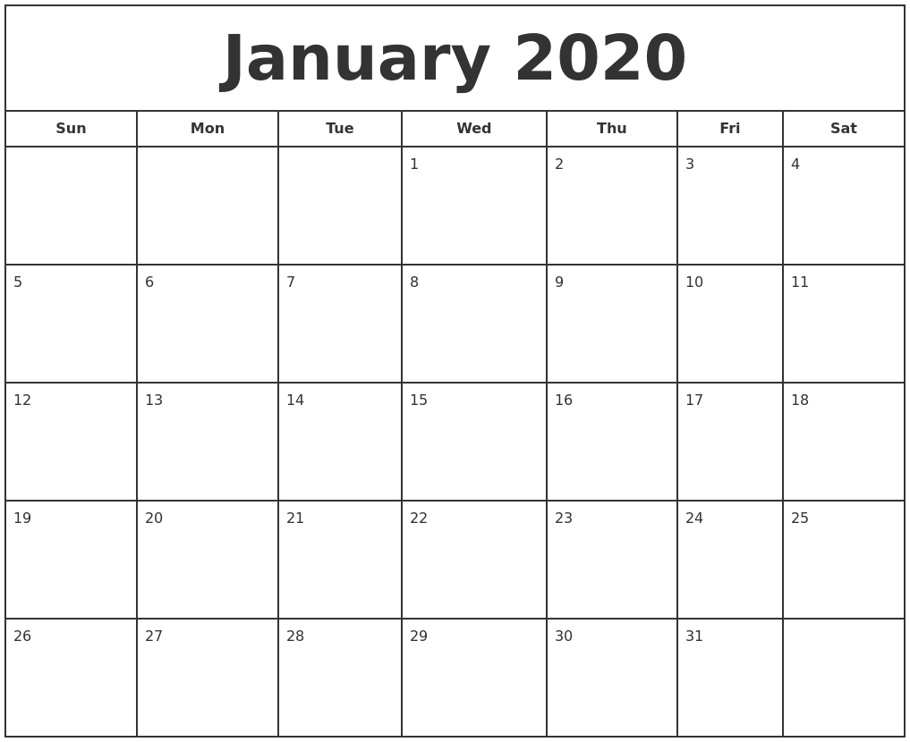 Free January Calendar 2020 Printable Template Blank In Pdf Microsoft Word Printable Calendar 2020