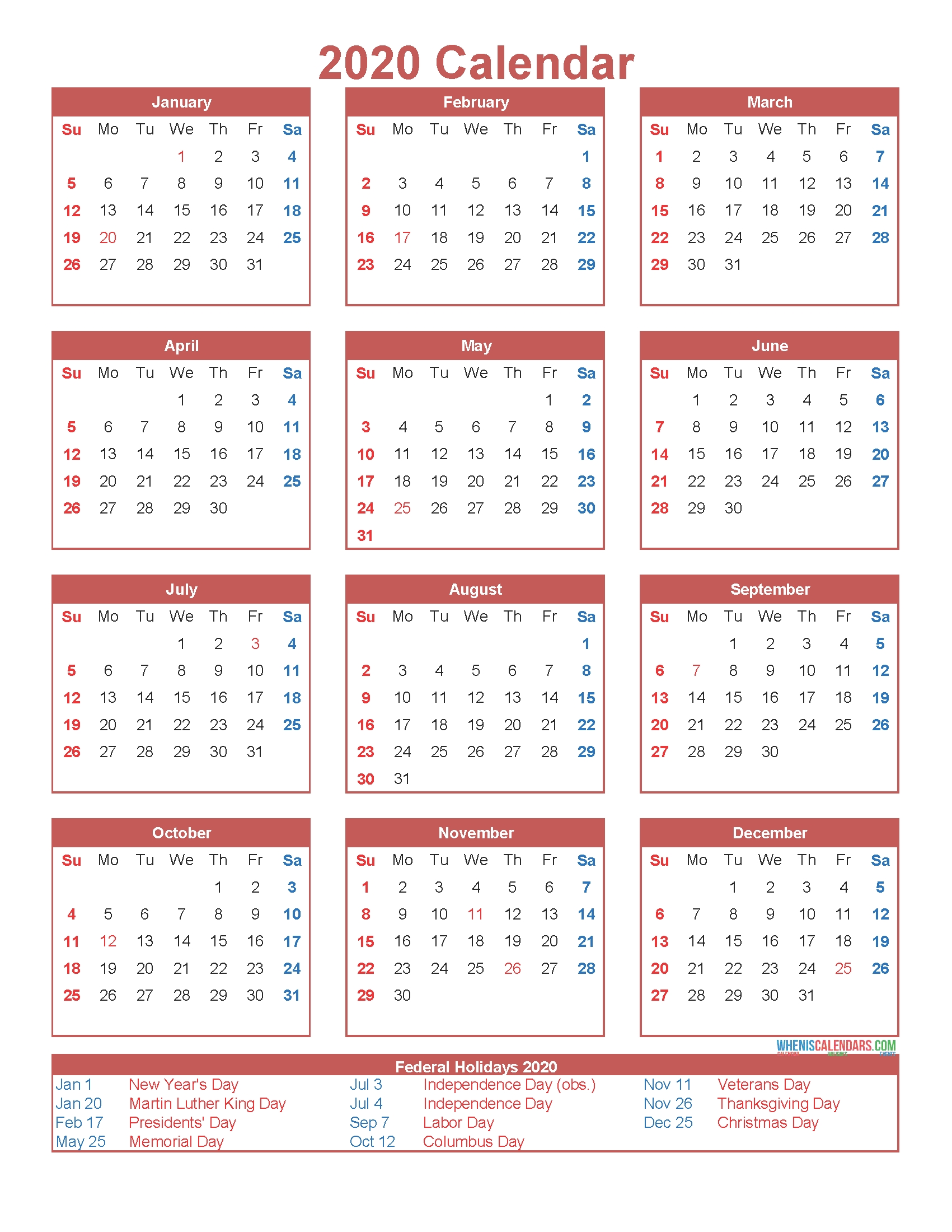 Free Printable 12 Month Calendar On One Page 2020 | Free Impressive Printable Jewish Holiday Calendar 2020