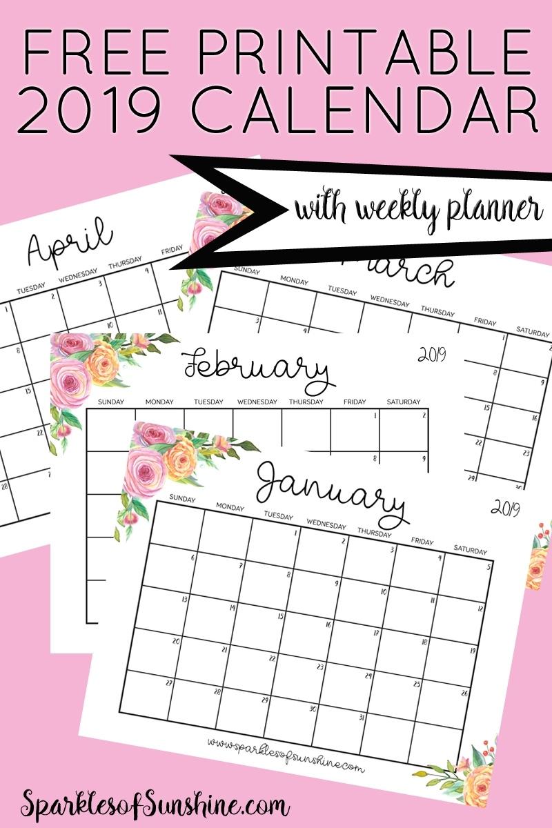 Free Printable 2019 Calendar With Weekly Planner - Sparkles Extraordinary Printable Binder Monthly Calender Blank