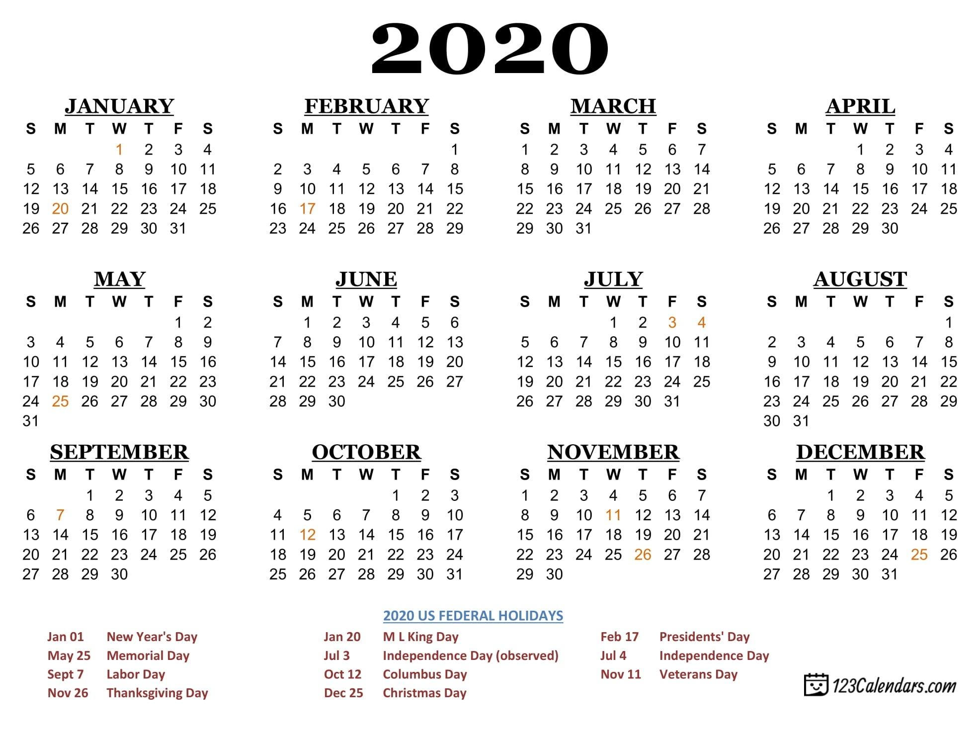 Free Printable 2020 Calendar | 123Calendars Christmas Calendar 2020 Printable Free