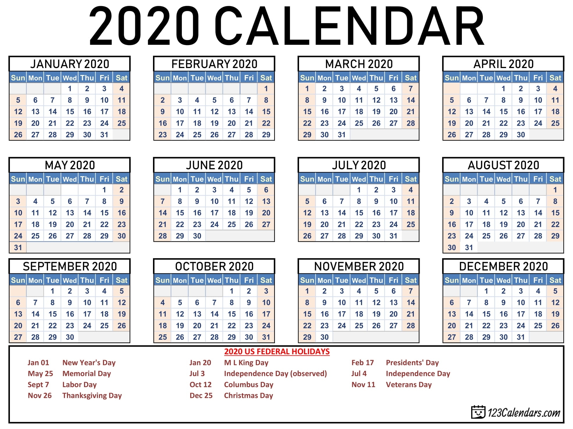 Free Printable 2020 Calendar | 123Calendars Free Printable Calenders With Legal Holidays
