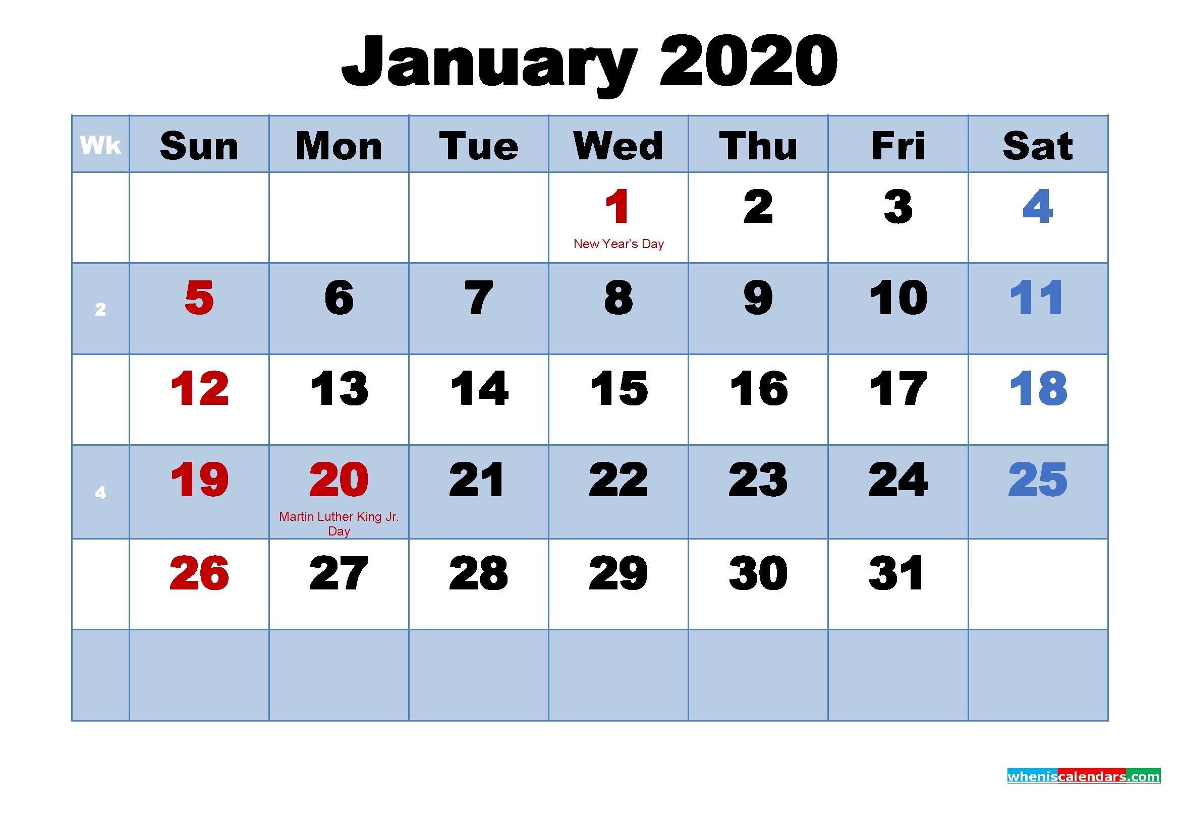 Free Printable 2020 Calendar January As Word, Pdf   Free 2020 Calendar With Jewish Holidays Pdf