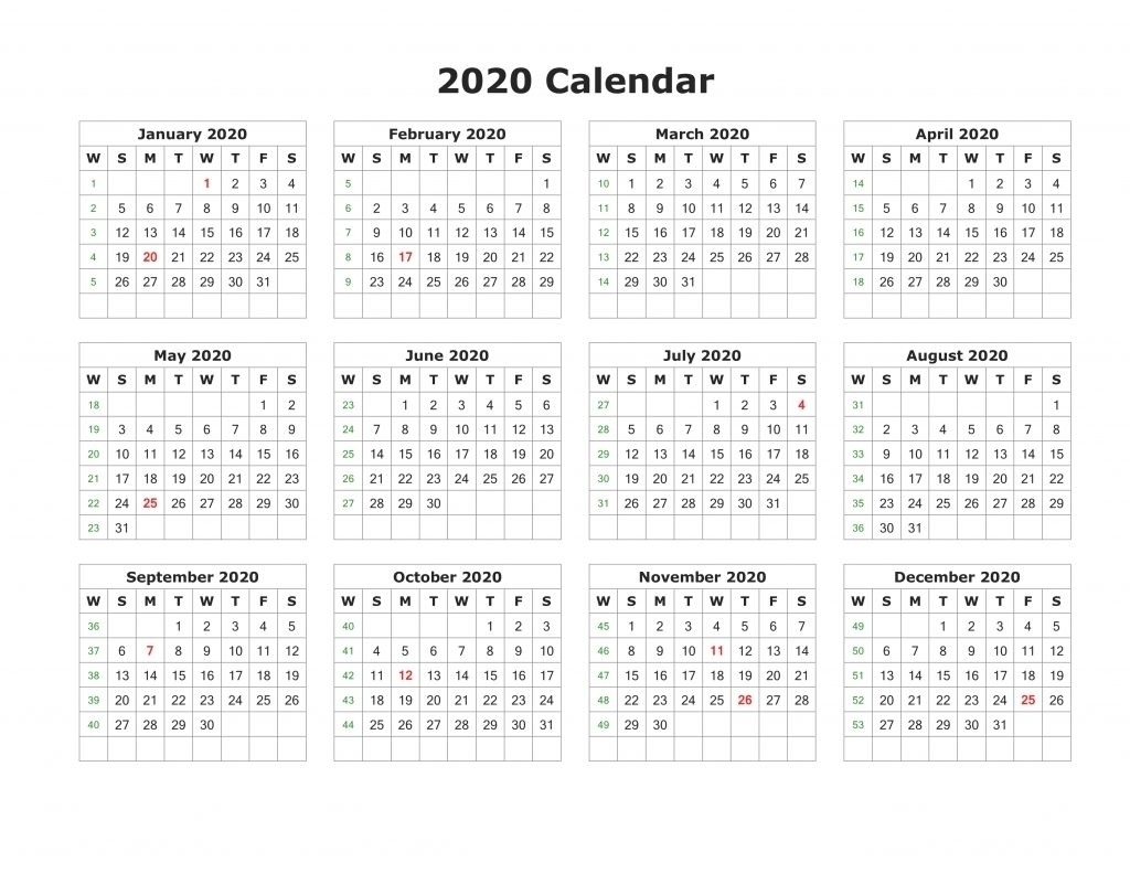 Free Printable 2020 Calendar – One Page Template 2020 Calendar Uk Printable A4