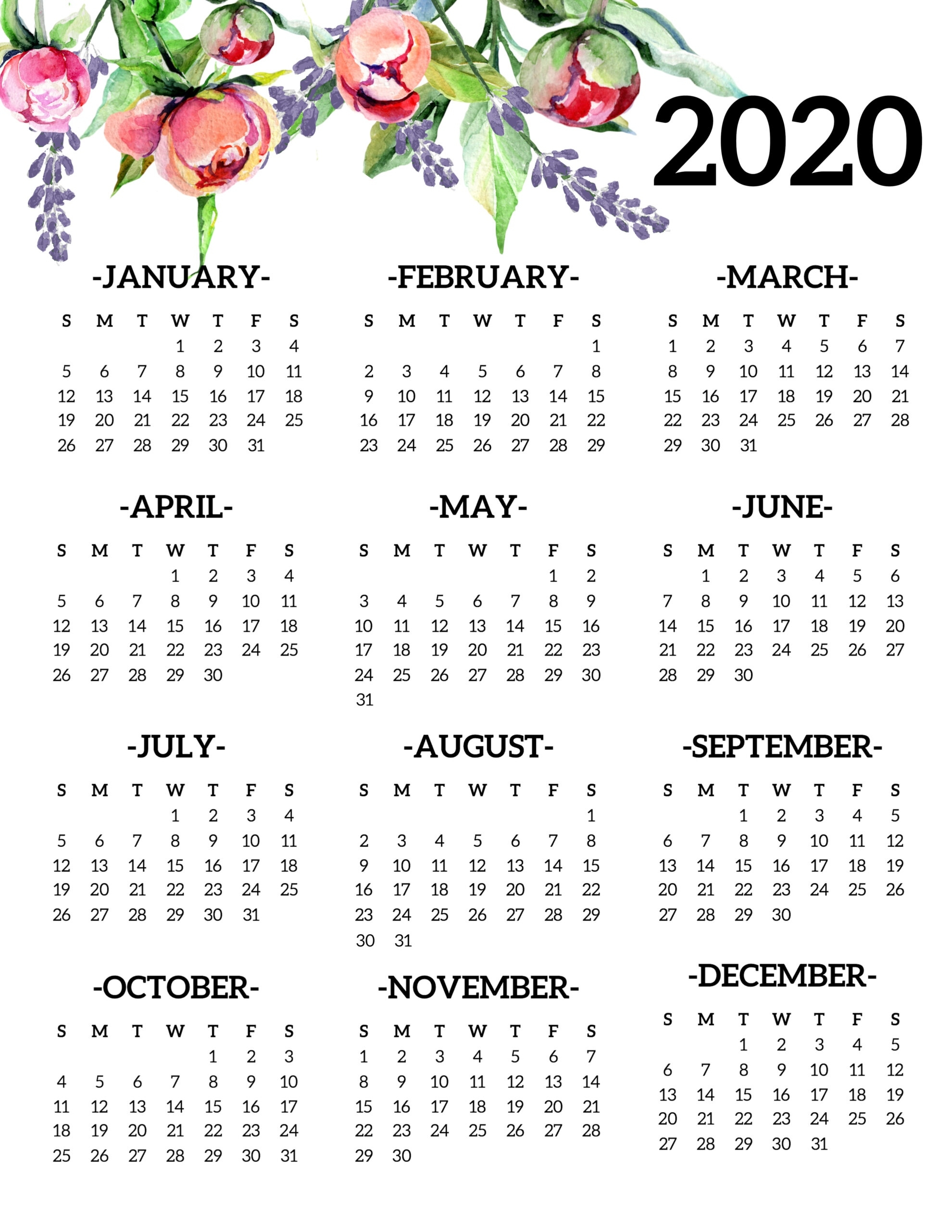 Free Printable 2020 Calendar Yearly One Page Floral - Paper Free 2020 Calendar At A Glance