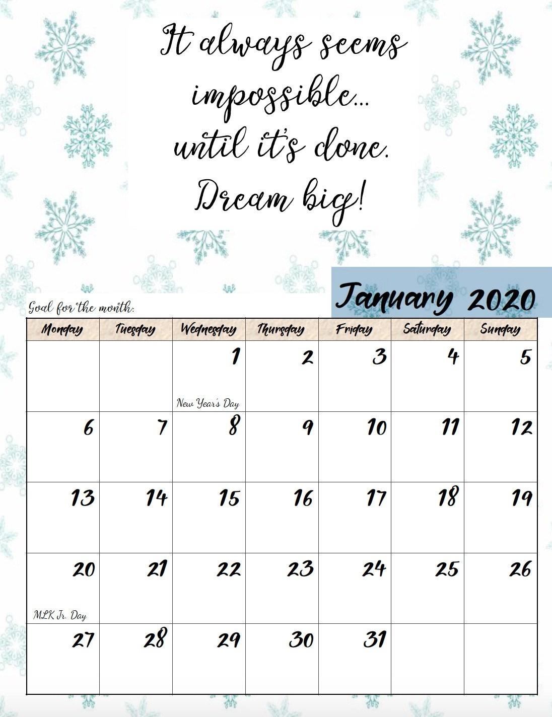 Free Printable 2020 Monday Start Monthly Motivational Calendar Remarkable 2020 Monthly Calendar Monday Start