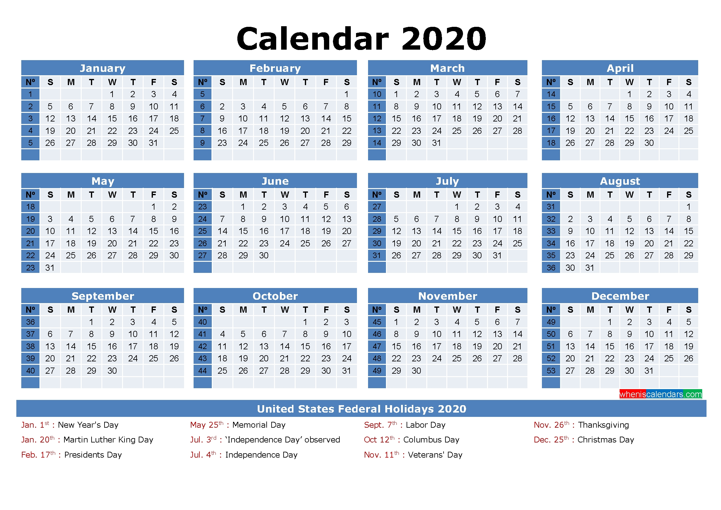 Free Printable 2020 Monthly Calendar With Holidays 2020 Printable Calendars Including Holidays And Jewish Holidays