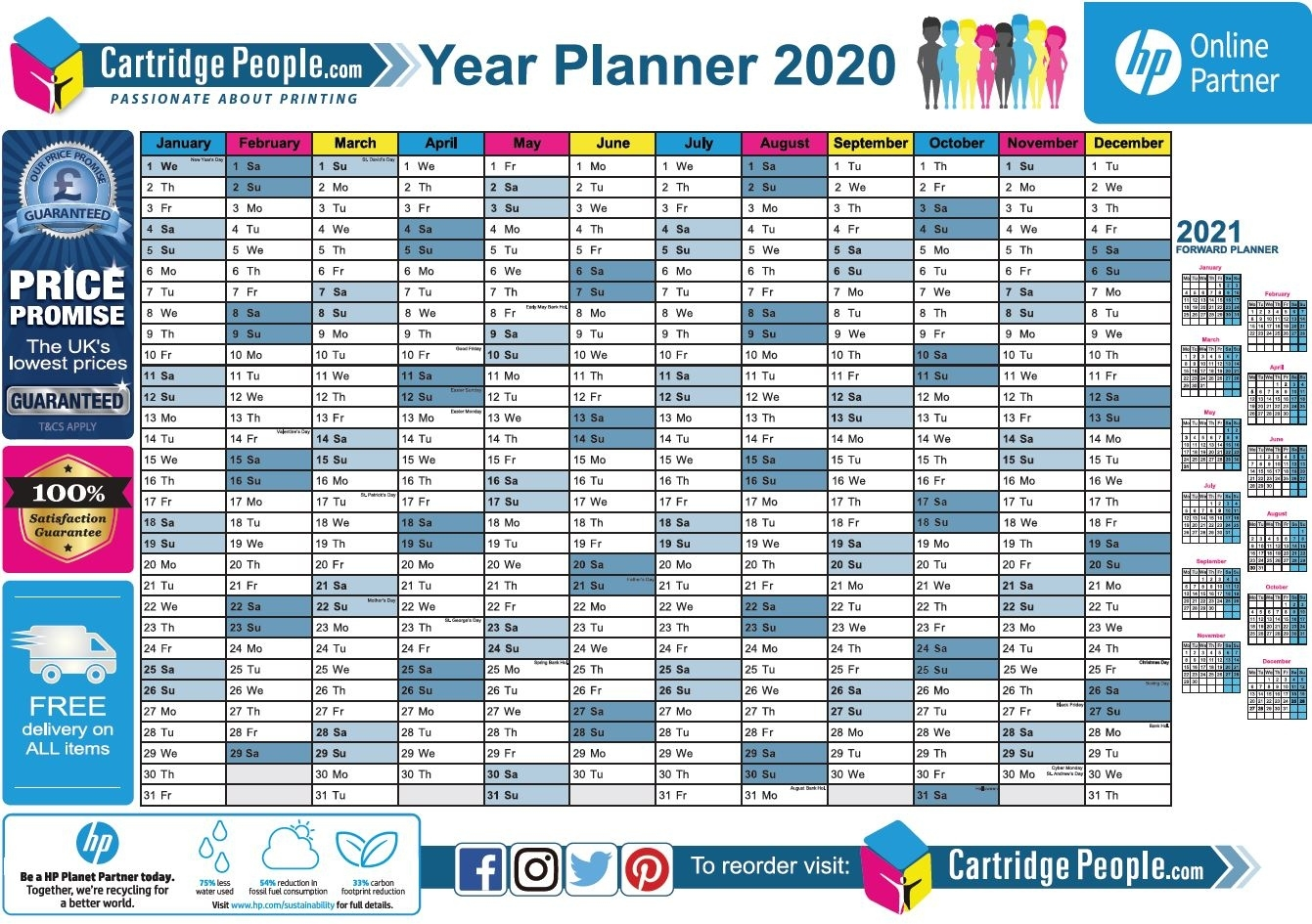 Free Printable 2020 Wall Planner | A4 And A3 | Download Now 2020 Calendar Uk Printable A4