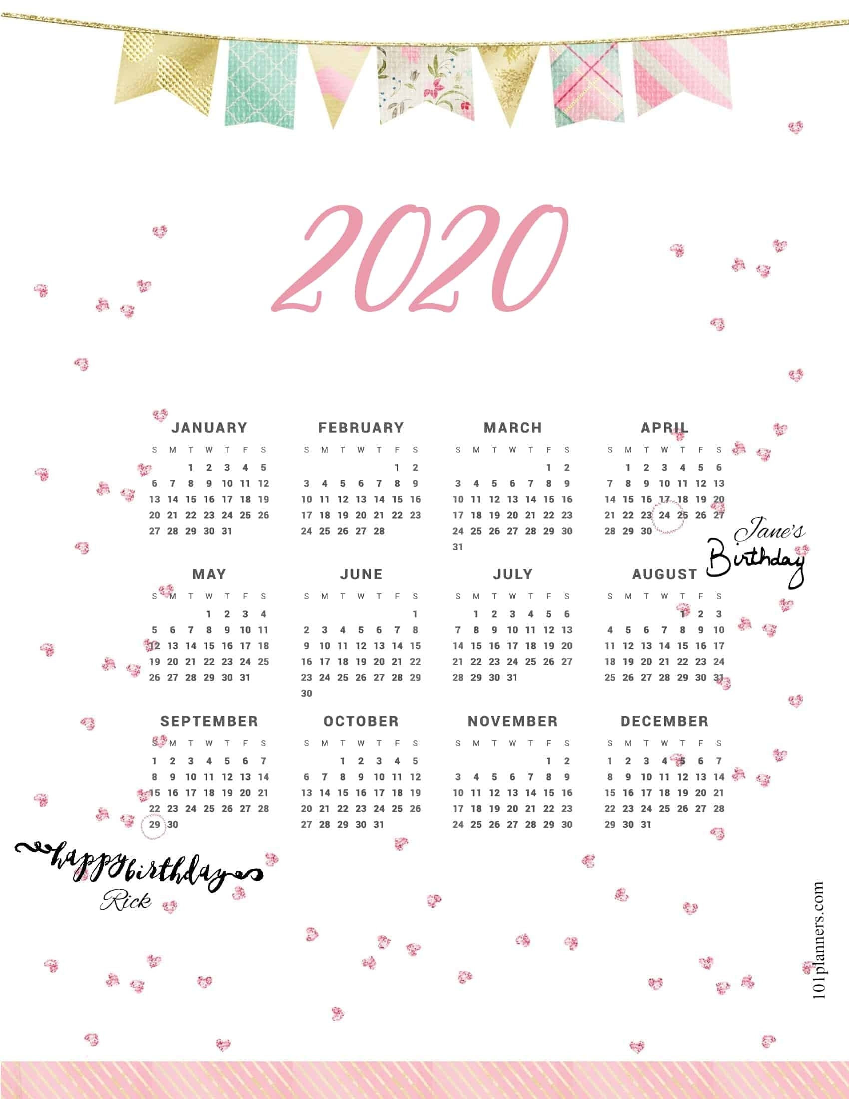Free Printable 2020 Yearly Calendar At A Glance | 101 Countdown To Christmas Calendar Printable 2020