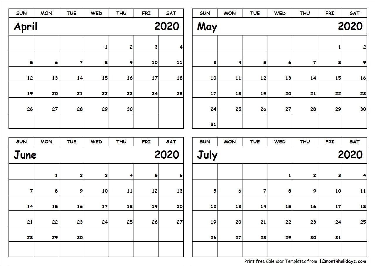 Free Printable 4 Month Calendars 2020 | Monthly Printable Exceptional Blank Calendar 2020 Four Months To Page