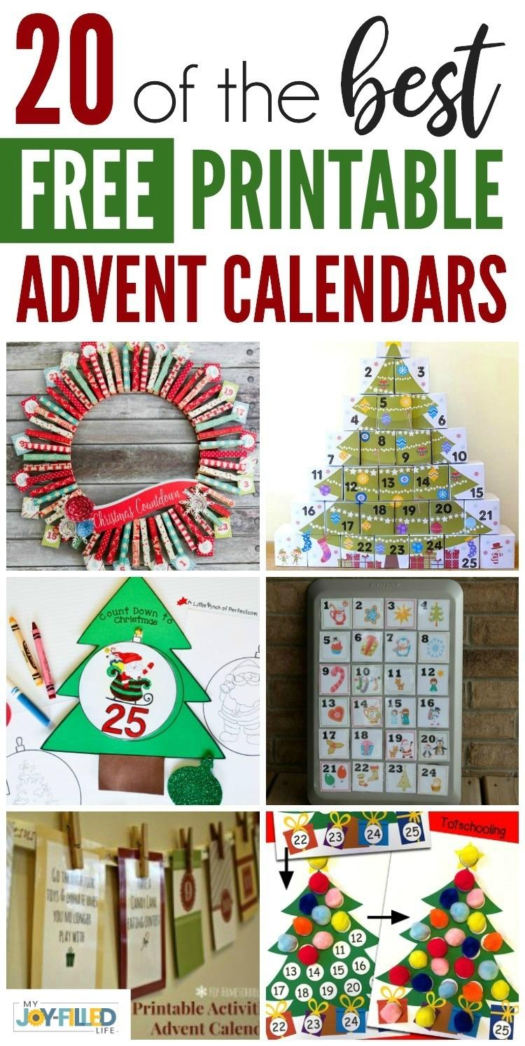 Free Printable Advent Calendars - My Joy-Filled Life Impressive Xmas Countdown 2020 Clendar Printable