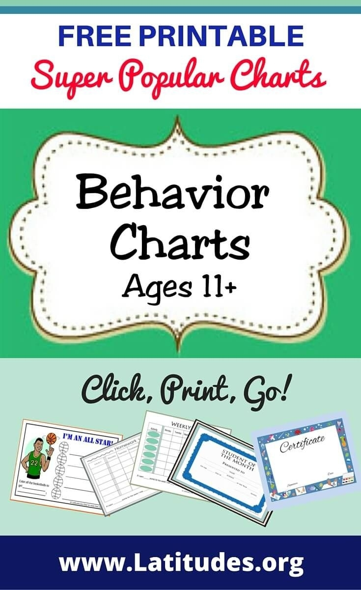 Free Printable Behavior Charts (Ages 11   Behaviour Chart Exceptional Monthly Behaviour Chart For Preteens