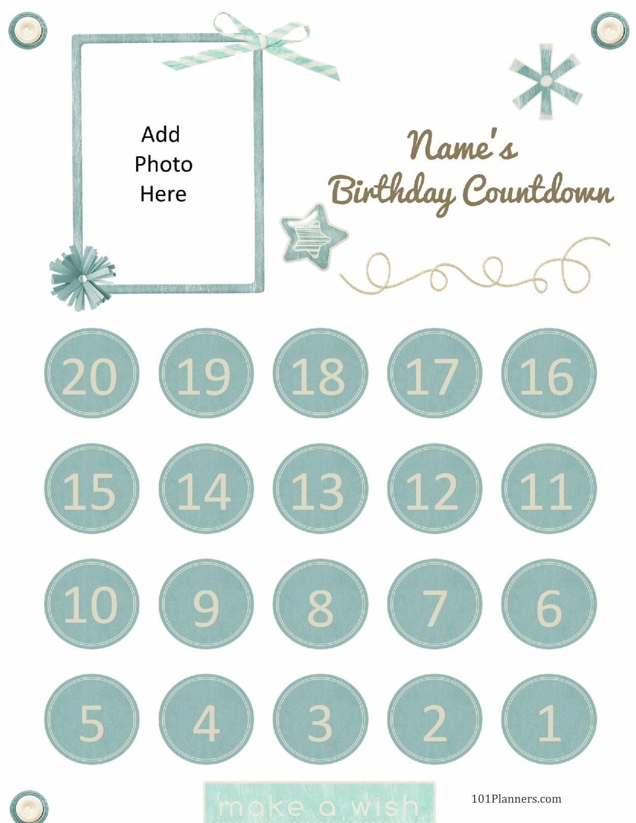 Free Printable Birthday Countdown   Customize Online Free Countdown Birthday Calendar Printable