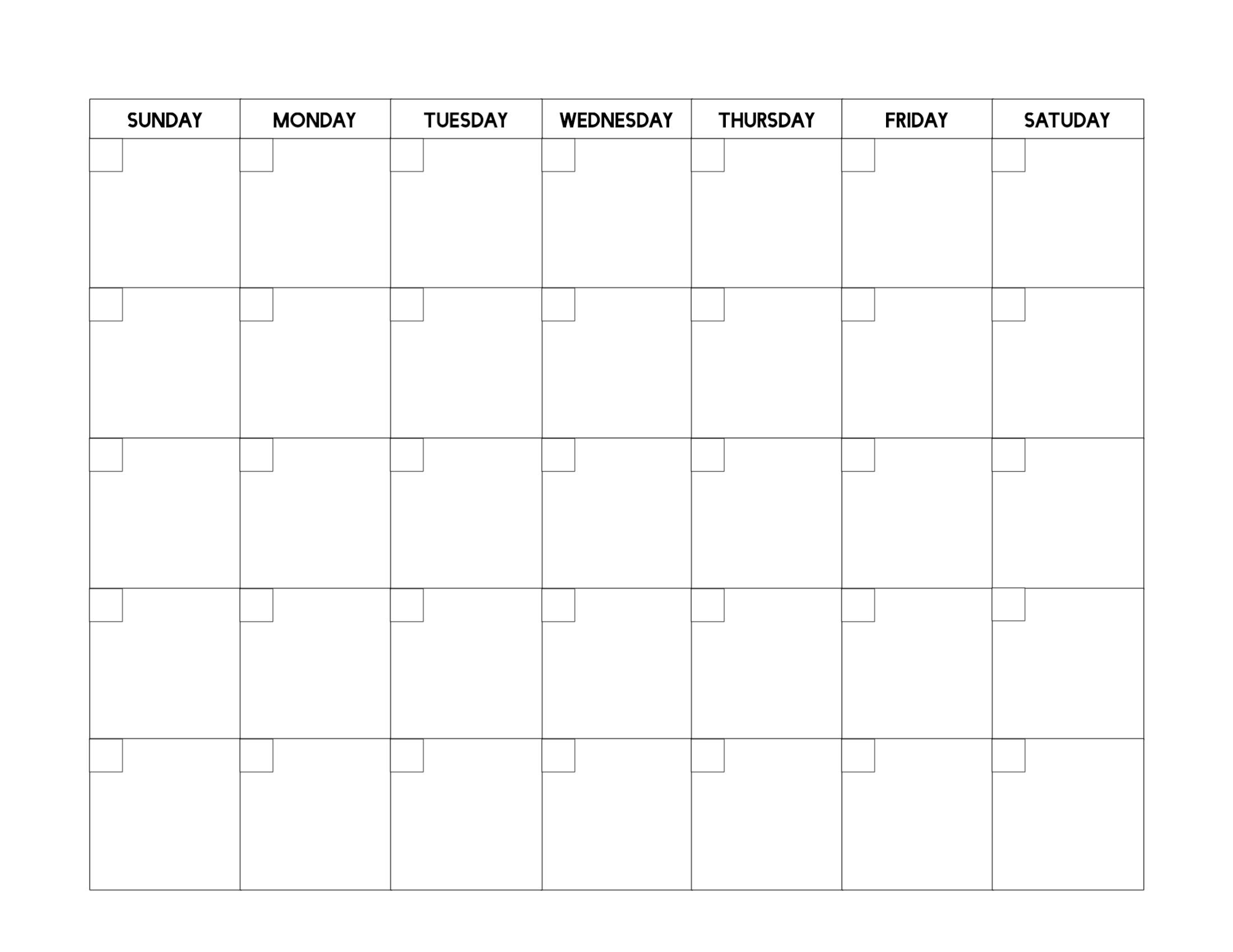 Free Printable Blank Calendar Template - Paper Trail Design Blank Calendar Page No Datea