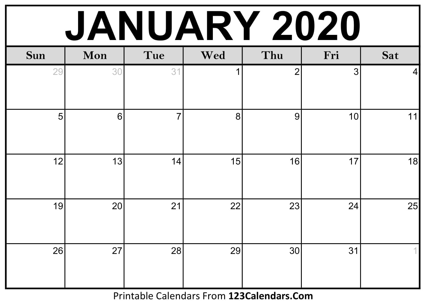 Free Printable Calendar | 123Calendars Remarkable 2020 Blank Printable Monthly Template