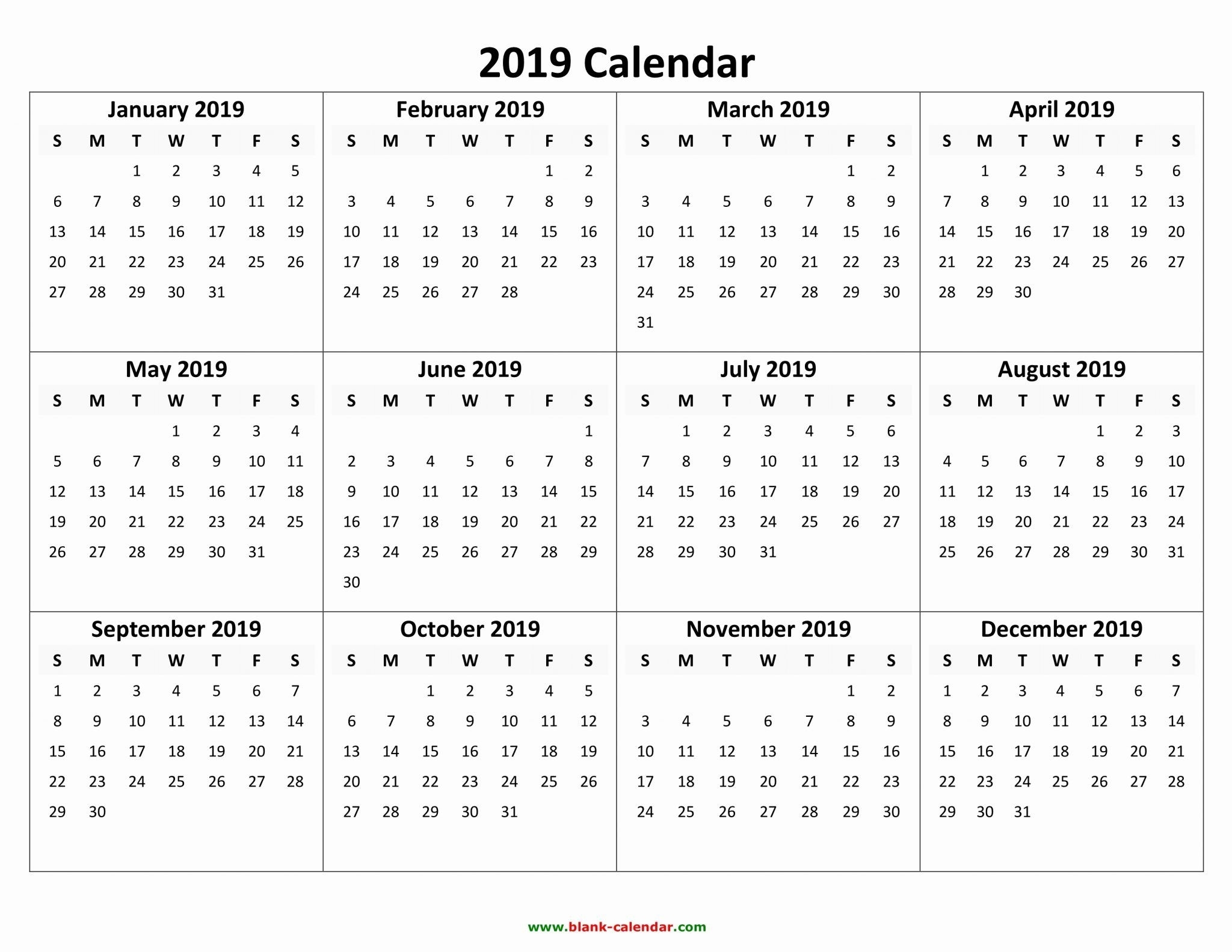 Free Printable Calendar 2019 With Holidays | Blank 12 Month Calendar Template Months On One Page Word