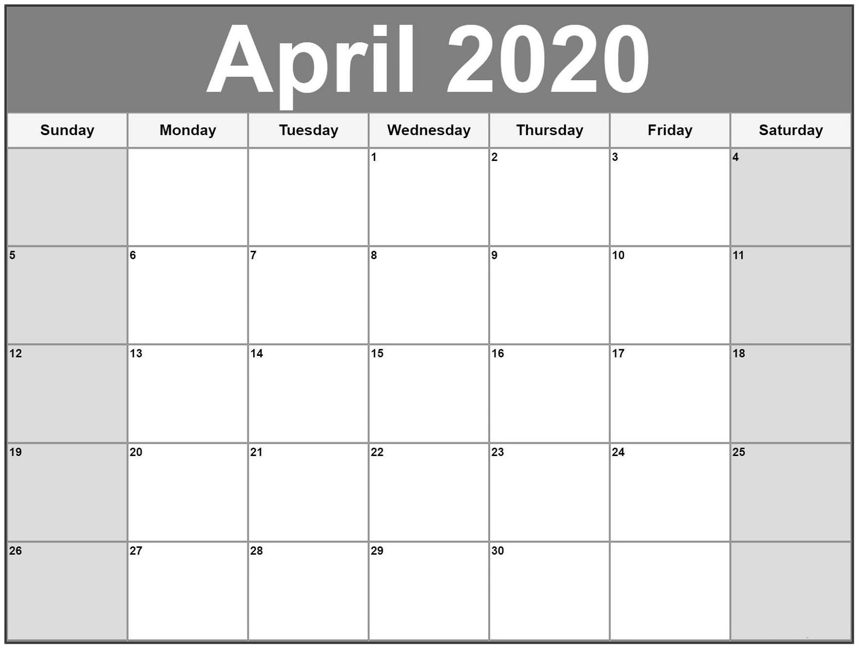 Free Printable Calendar 2020 | Calendar Shelter Free Very Large Squares Blank Printable Calendar 2020 Monthly