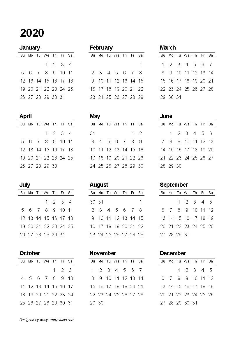 Free Printable Calendars And Planners 2019 2020 2021 2020 Free 2020 Calendar At A Glance