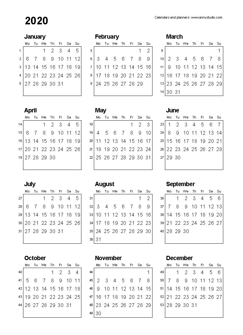 Free Printable Calendars And Planners 2020, 2021, 2022 2020 Calendar Numbered Weeks