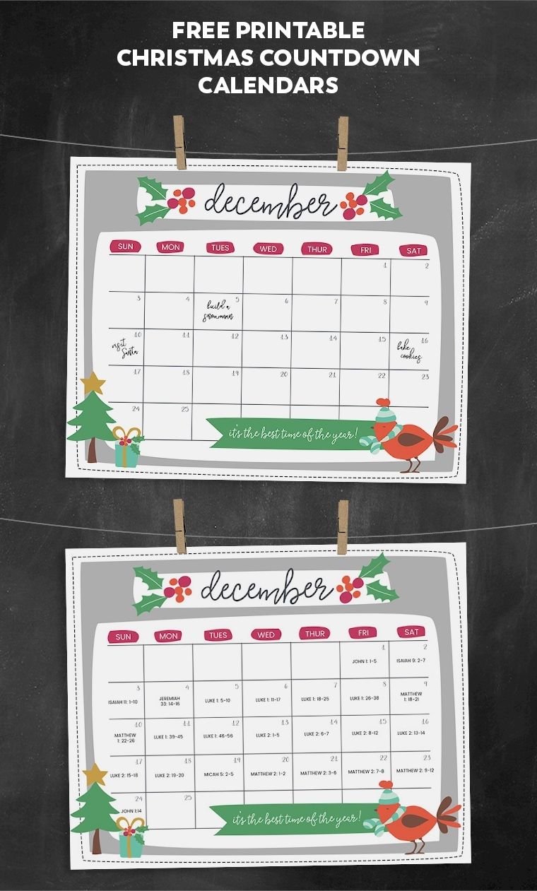 Free Printable Christmas Countdown Calendar For December | 2 Countdown To Christmas Calendar Printable 2020