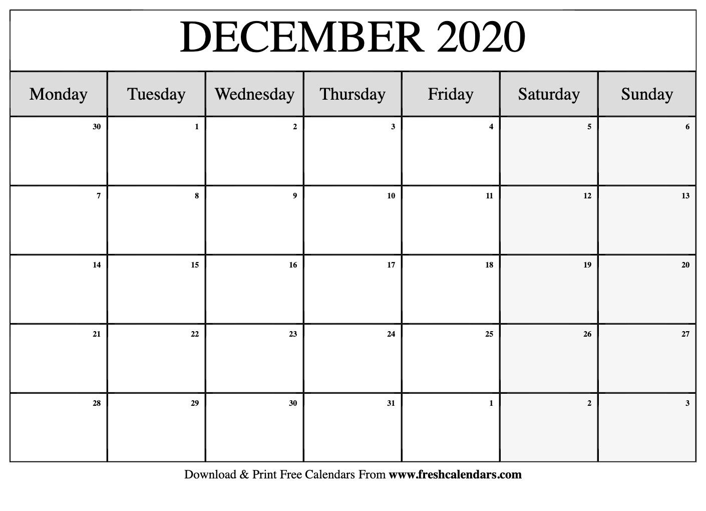 Free Printable December 2020 Calendar Free Printable Monthly Calendars Monday Start