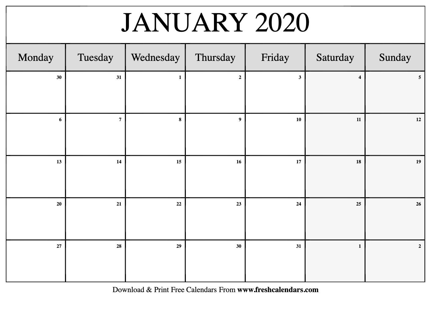 Free Printable January 2020 Calendar Remarkable 2020 Monthly Calendar Monday Start