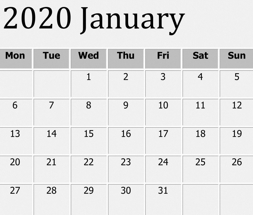 Free Printable January 2020 Calendar Word Template – Free Perky 2020 Monthly Calendar Template Word
