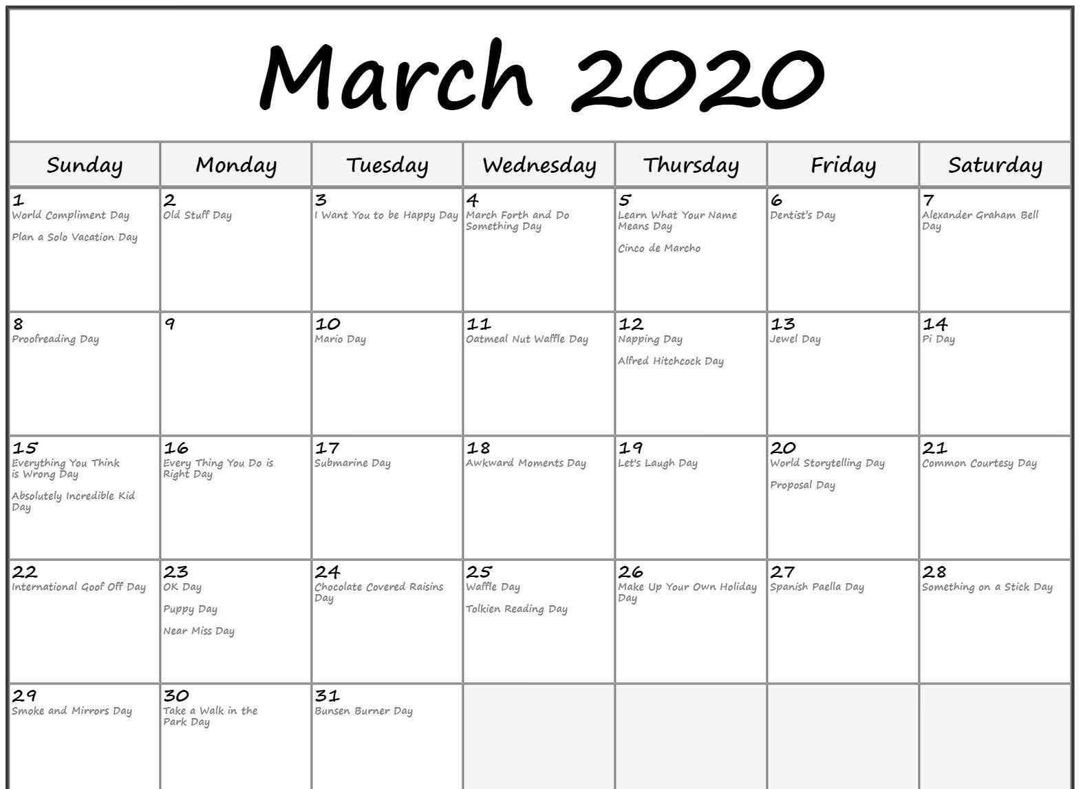 Free Printable March Holidays 2020 Calendar In Us, Uk Perky Printable Calendar 2020 Of Ridiculous Holidays
