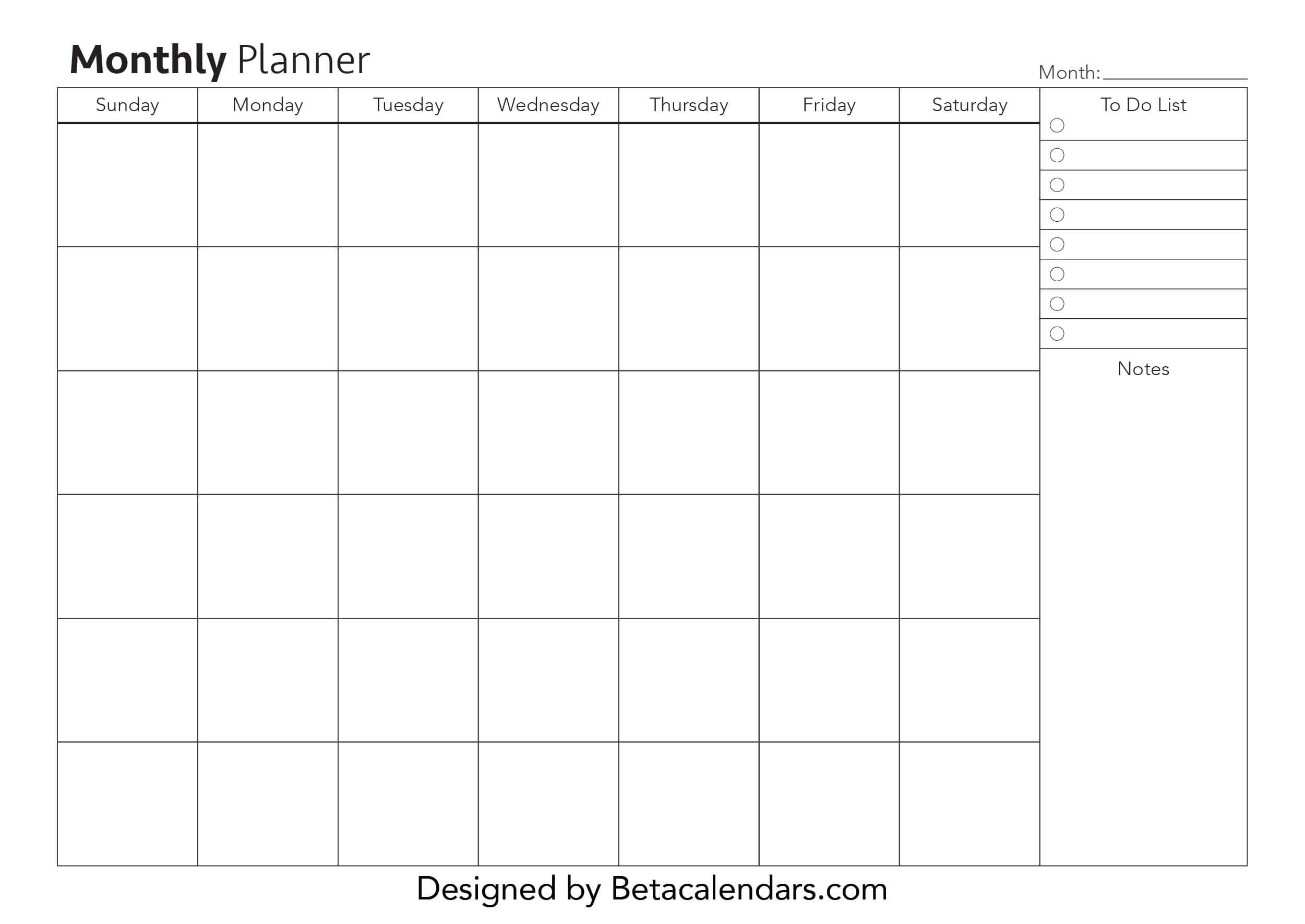 Free Printable Monthly Planner - Beta Calendars Exceptional Month At A Glance Blank Template