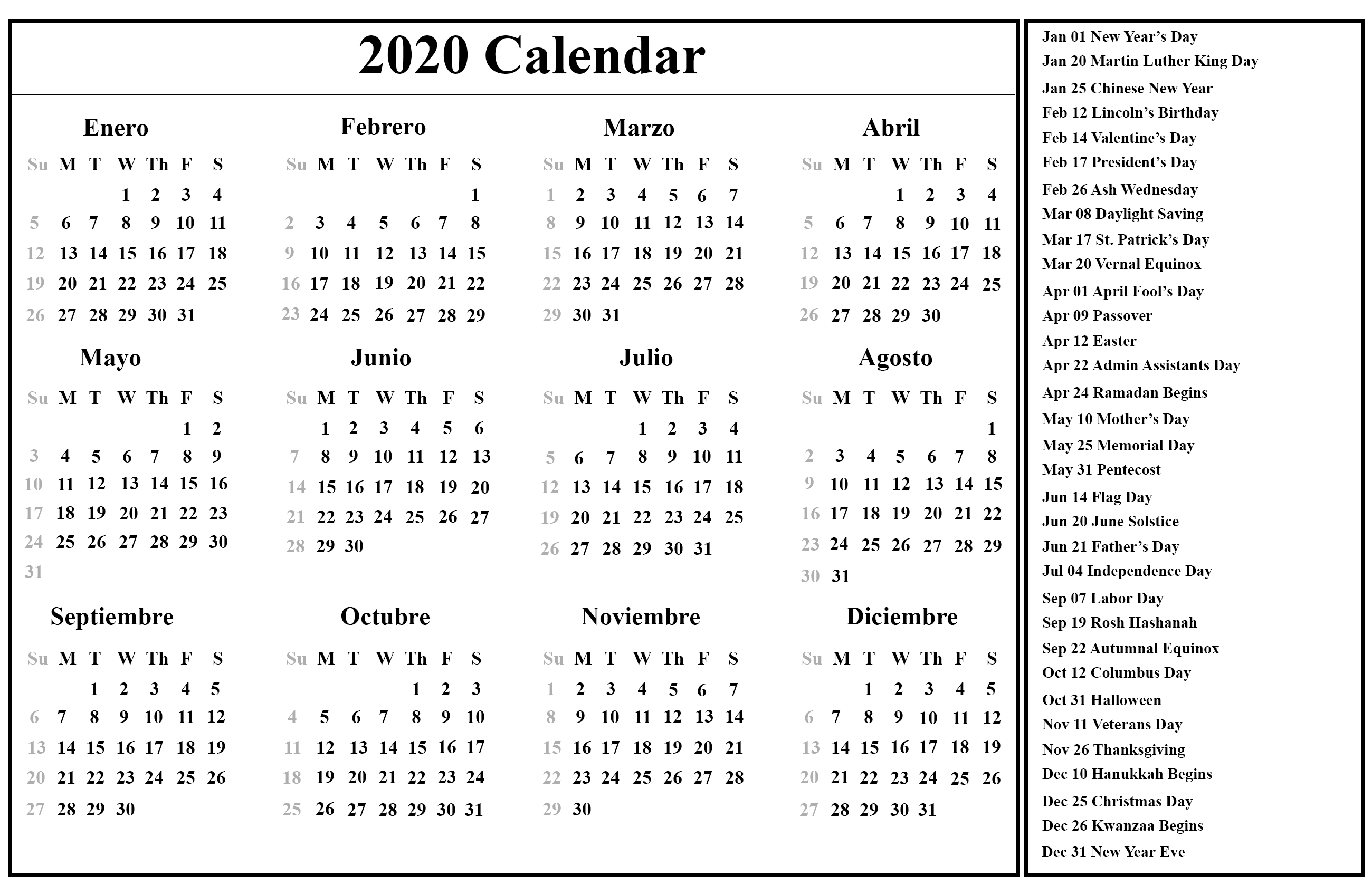Free Printable Spanish Calendar 2020 | 2020 Calendario Year 2020 Calendar Singapore