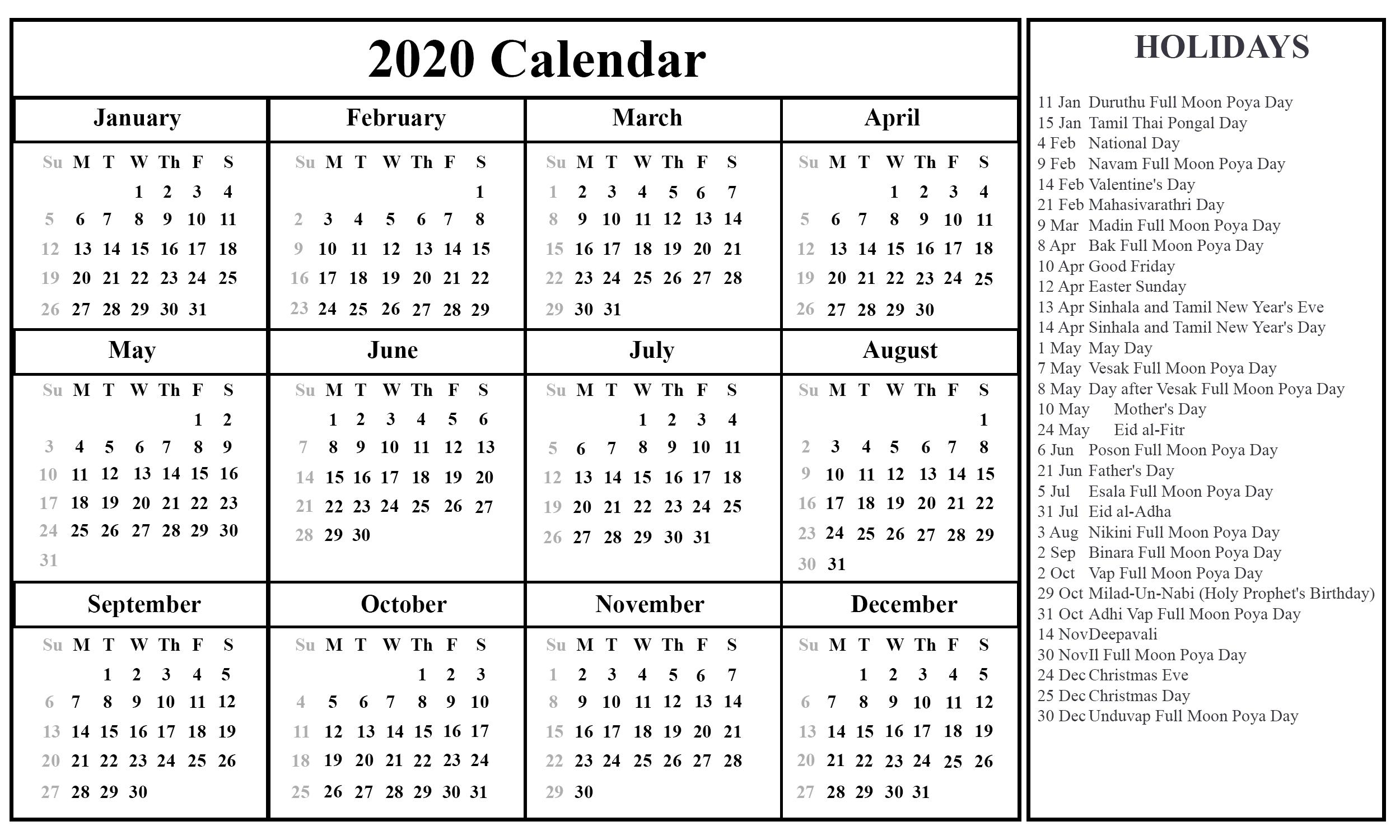 Free Printable Sri Lanka Calendar 2020 With Holidays In Pdf Impressive 2020 Calendar Holidays Sri Lanka