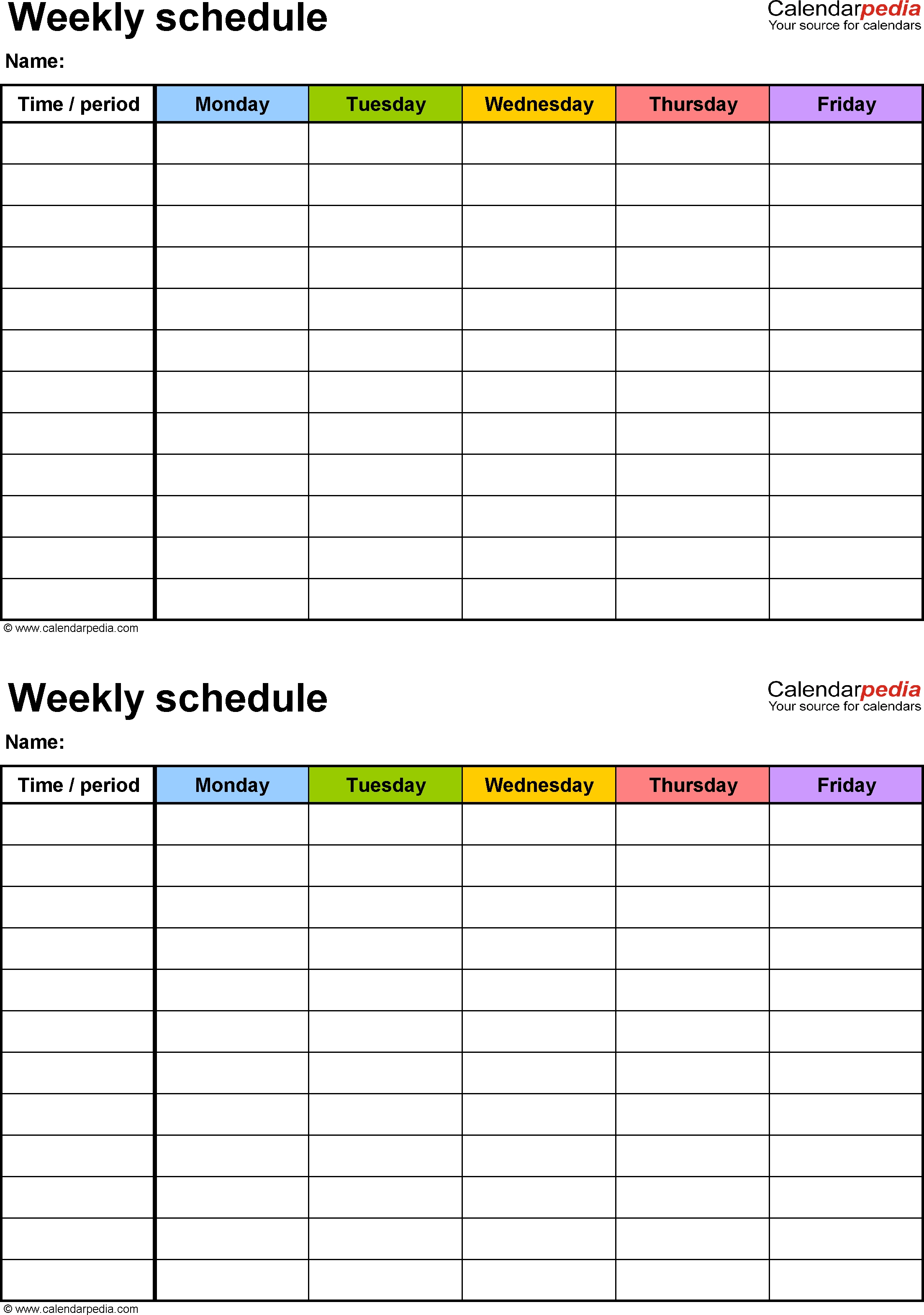 Free Weekly Schedule Templates For Word - 18 Templates Blank Monday Through Friday Schedule Word