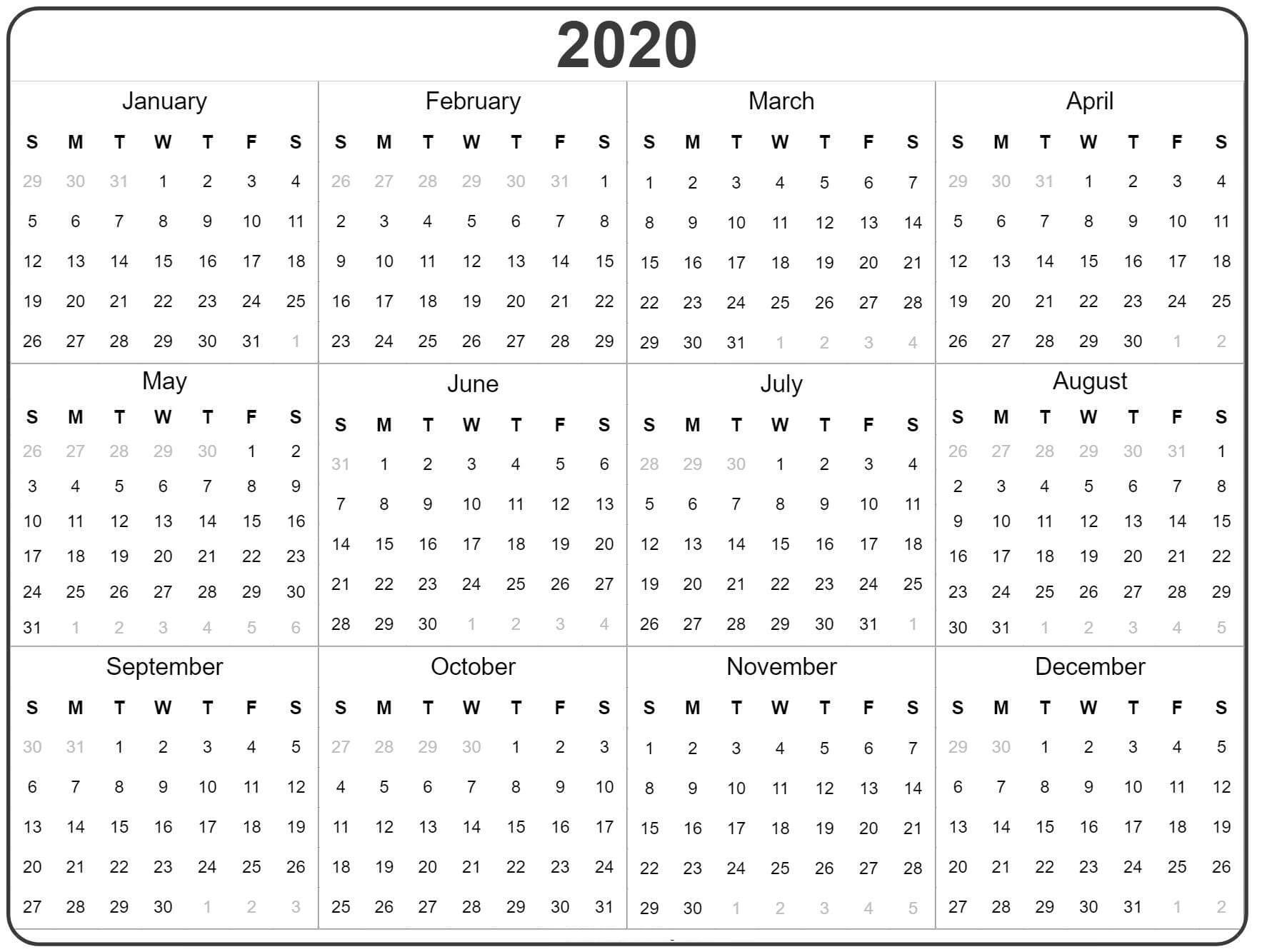 Free Yearly Calendar 2020 With Notes - 2019 Calendars For Impressive Free 2020 Calendar At A Glance