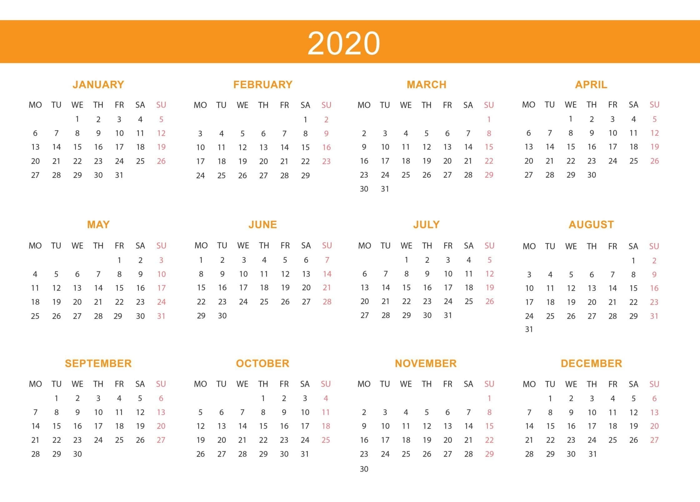 Free Yearly Calendar 2020 With Notes - 2019 Calendars For Year 2020 Calender - South Africa