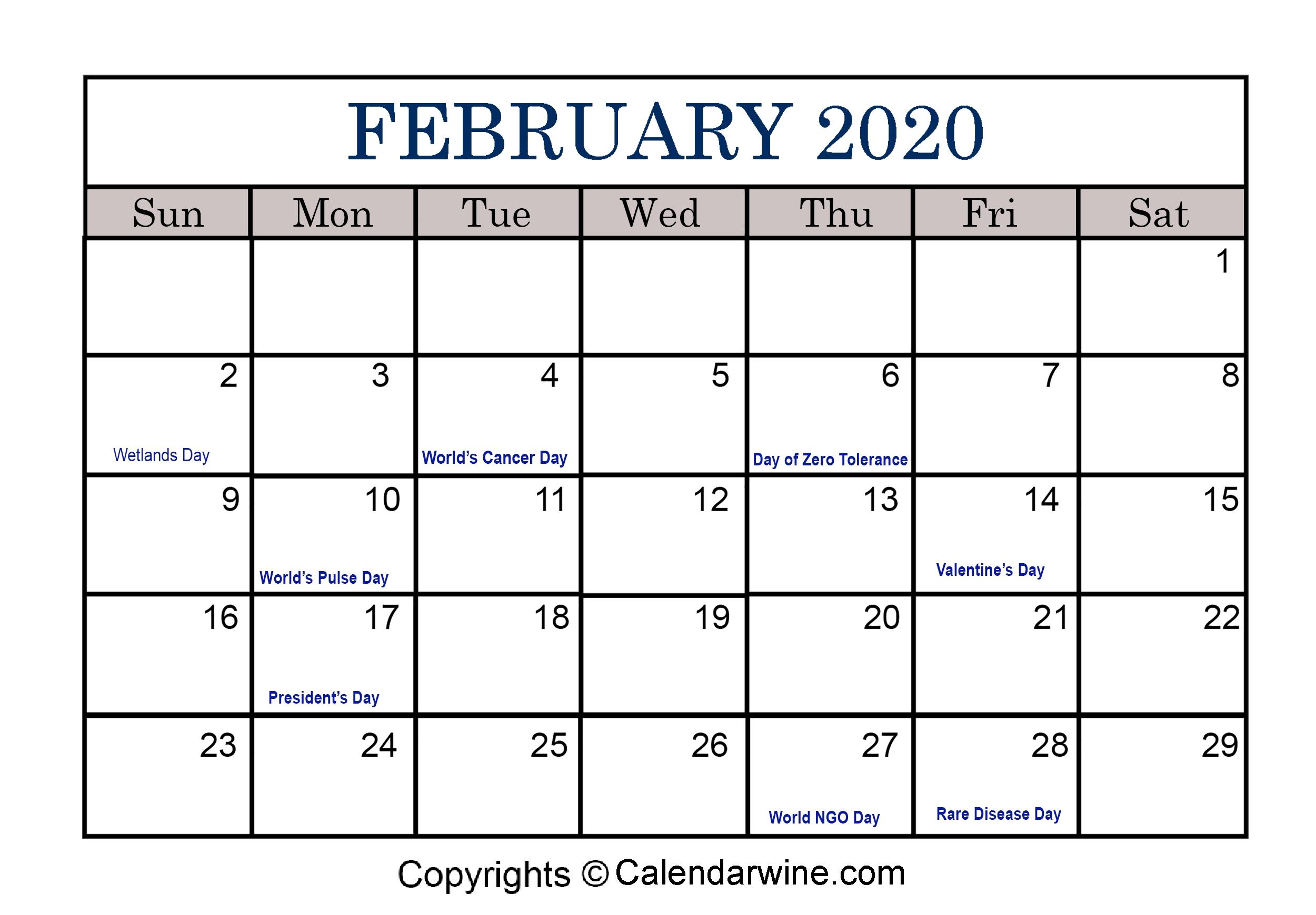 Full List Of February Holidays 2020 For Usa Uk Canada 2020 Printable Calendars Including Holidays And Jewish Holidays