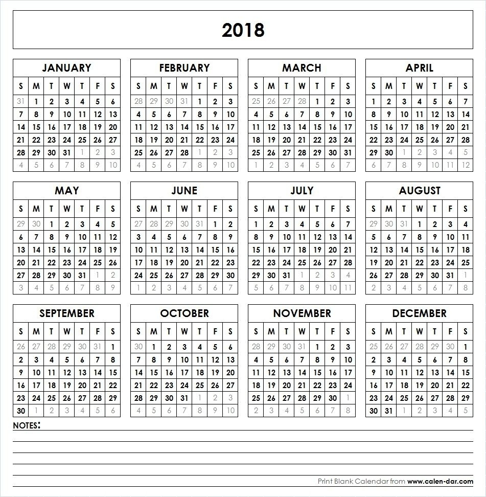 Get Free Blank Template Of Year 2018 Printable Calendar Impressive Calendar Template That Can Be Wrote On
