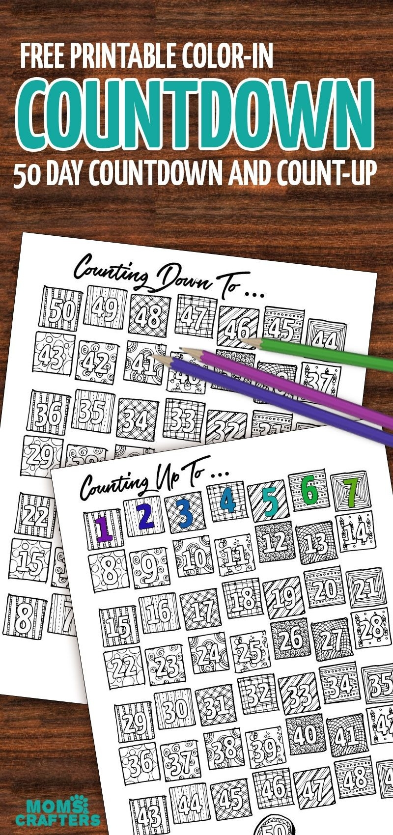 Grab This Fun Color-In Countdown And Progress Tracker Exceptional Free Countdown Birthday Calendar Printable