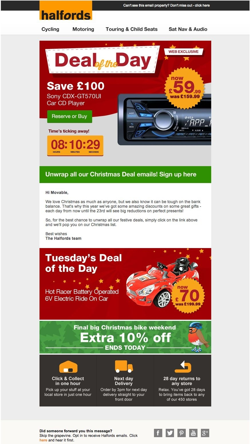 Halfords Used A Live Animated Countdown Clock In This Email Countdown Clock Without Weekends And Holidays