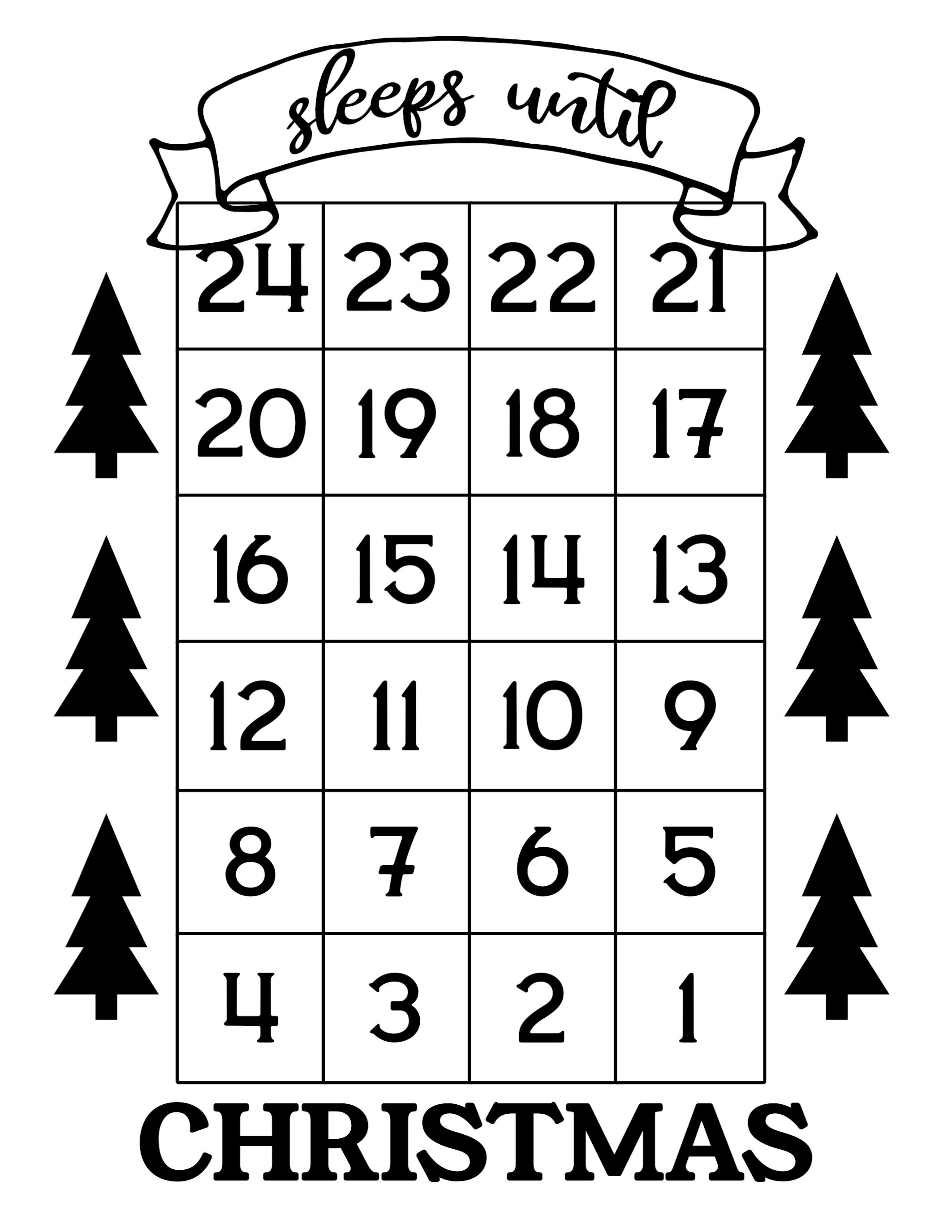 How Many Days Until Christmas Free Printable - Paper Trail Xmas Countdown 2020 Clendar Printable