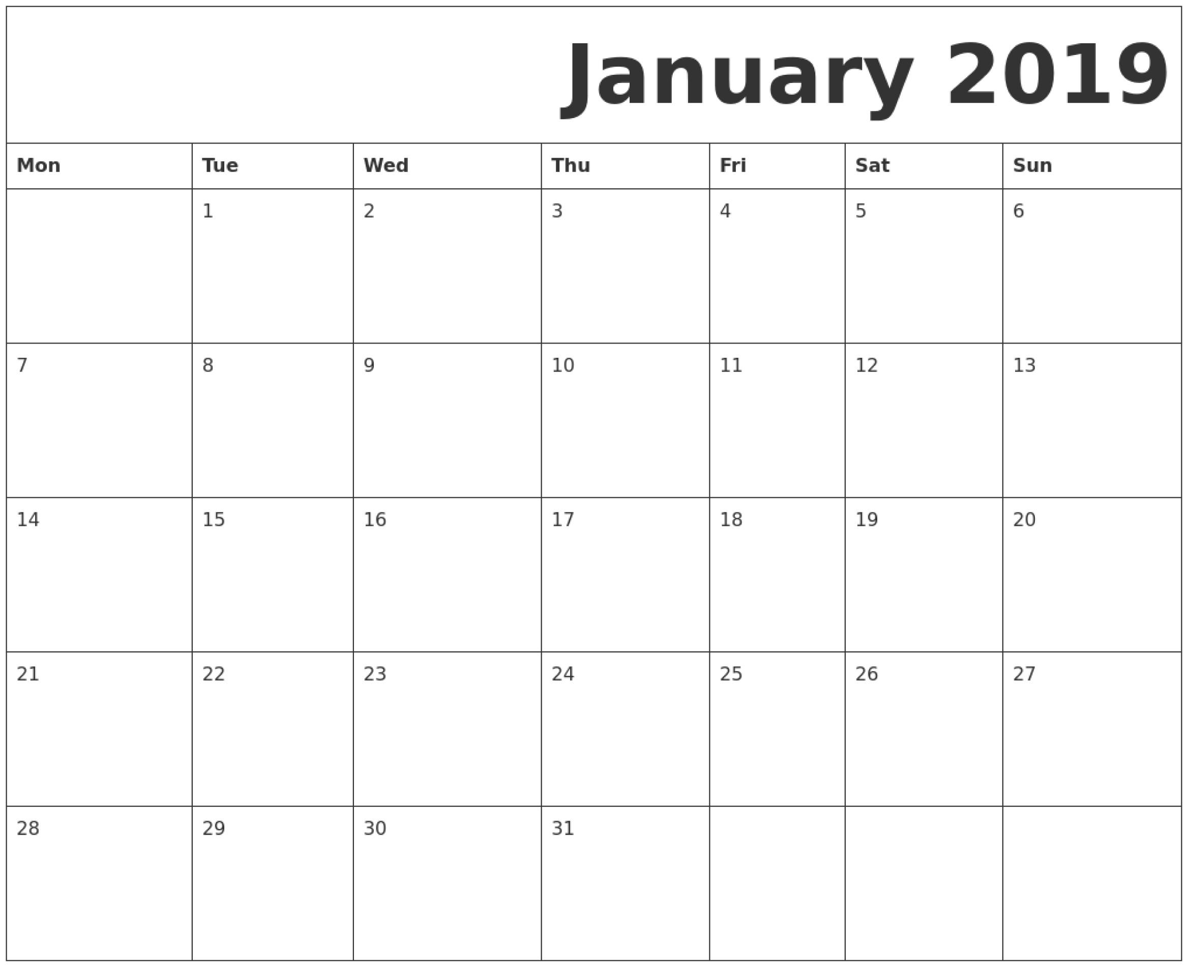 January 2019 Printable Calendar Monday Start. | June Impressive Printable Monthly Calendar Monday Start