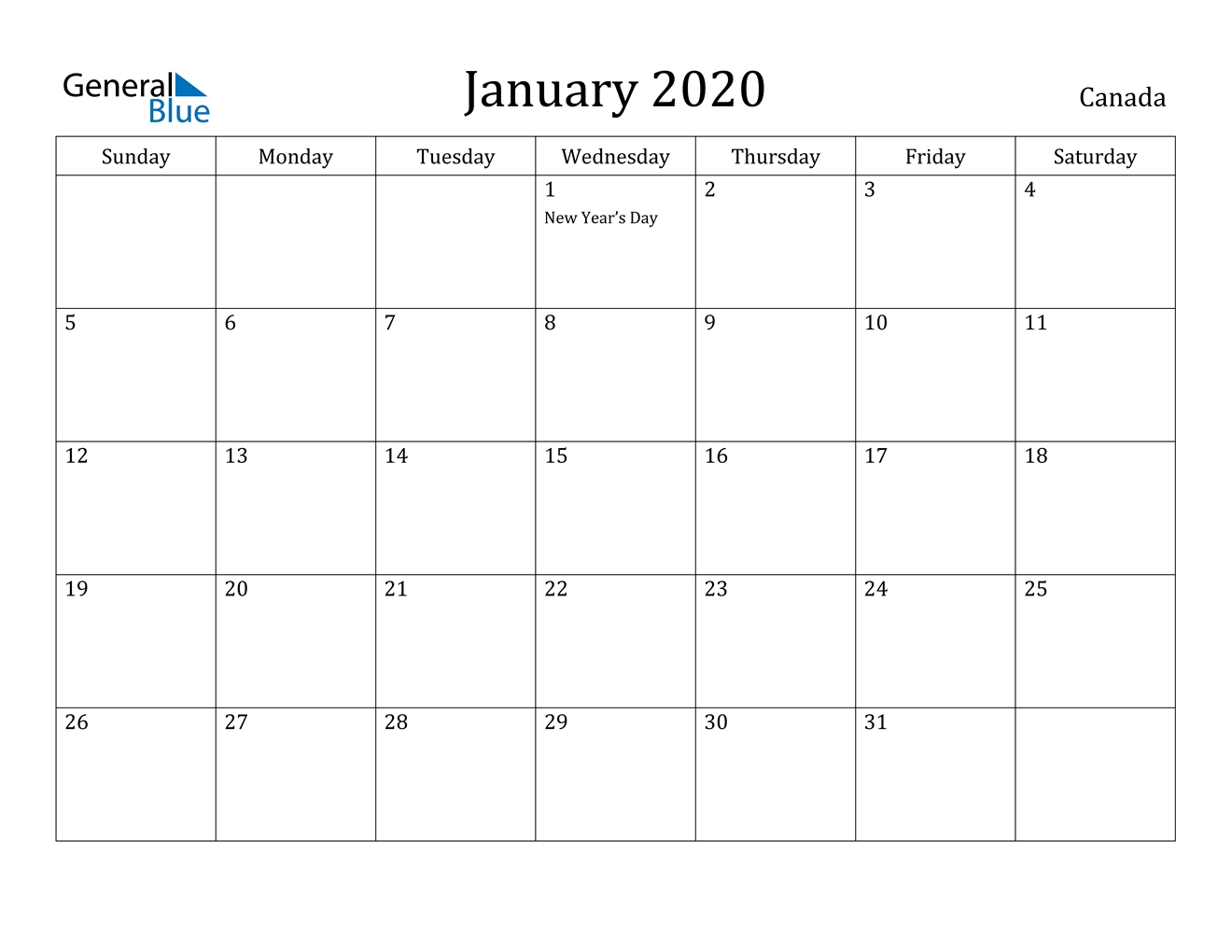 January 2020 Calendar - Canada Extraordinary January 2020 Printable Calendar Canada