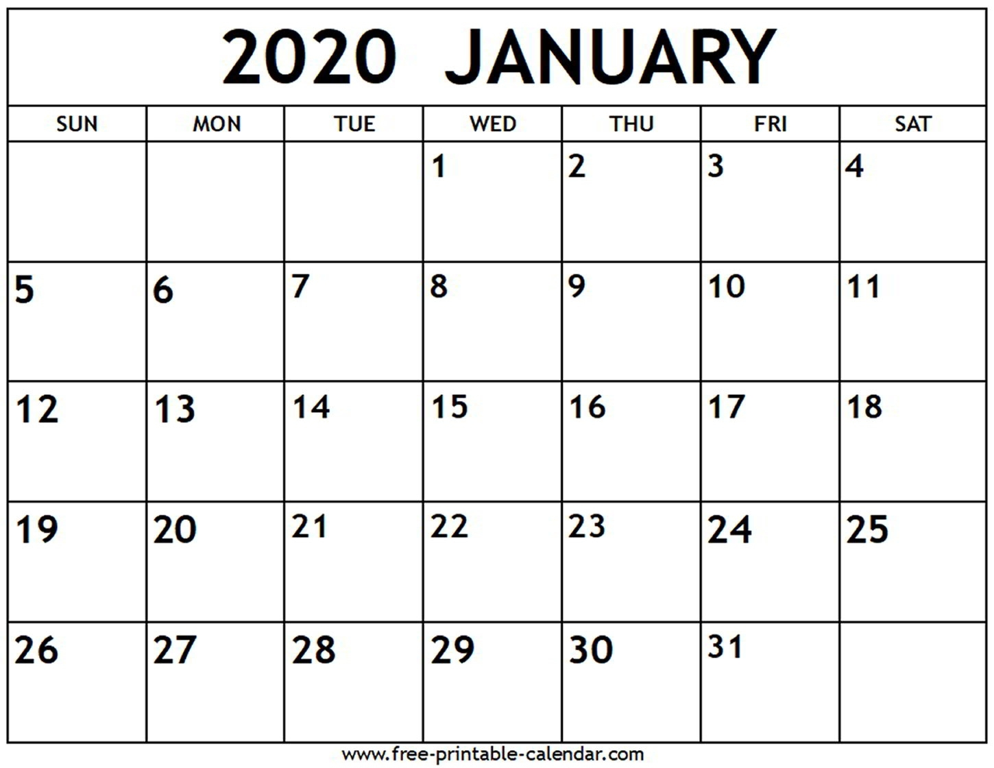 January 2020 Calendar - Free-Printable-Calendar Extraordinary January 2020 Printable Calendar Canada