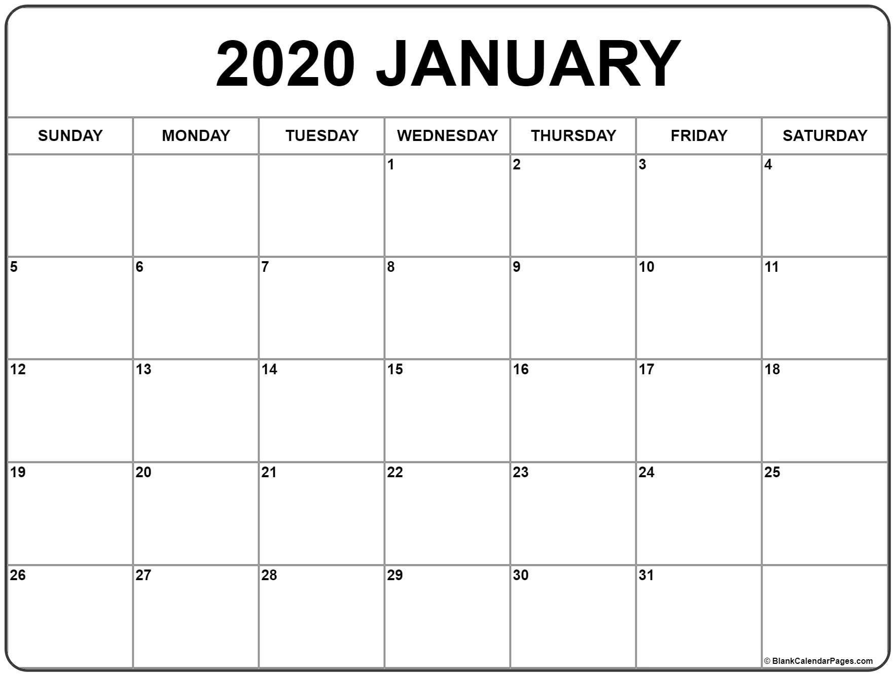January 2020 Calendar | Free Printable Monthly Calendars 2020 Monthly Calendar Template Word