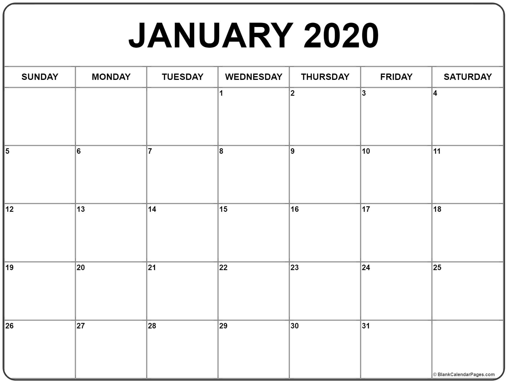 January 2020 Calendar | Free Printable Monthly Calendars Calendar Template 2020 Printable Free Black And White