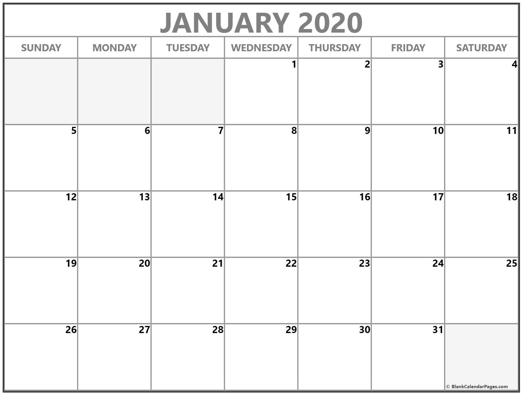 January 2020 Calendar | Free Printable Monthly Calendars Free Printable Calendars Without Weekends
