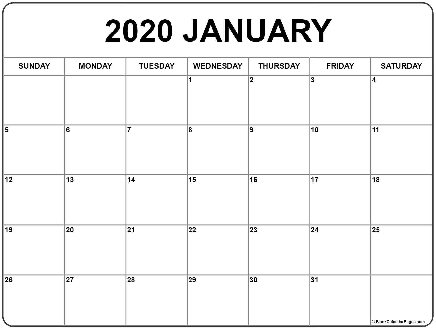 January 2020 Calendar | Free Printable Monthly Calendars Remarkable Free Printable Calendars Without Weekends