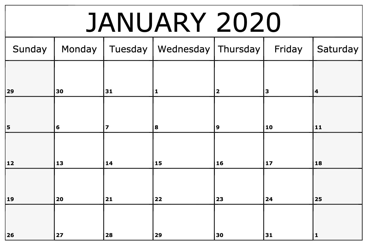 January 2020 Calendar Printable Template In Pdf Word Excel Perky 2020 Monthly Calendar Template Word