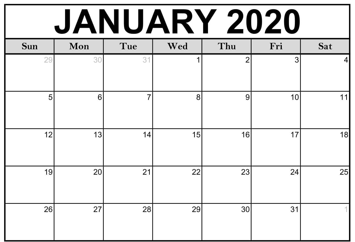 January 2020 Calendar Template | Free Printable Calendar Extraordinary January 2020 Printable Calendar Canada